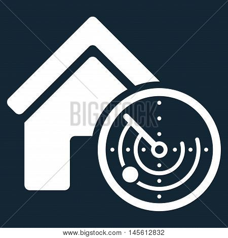 Realty Radar icon. Vector style is flat iconic symbol, white color, dark blue background.