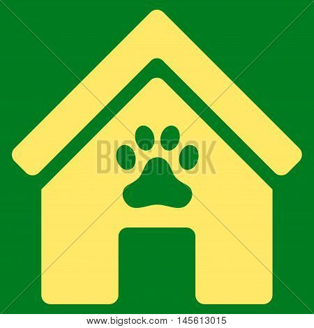 Doghouse icon. Vector style is flat iconic symbol, yellow color, green background.