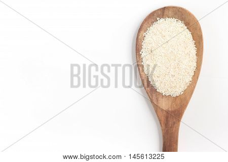 Farinha de Mandioca. Manioc. Cassava flour in white background