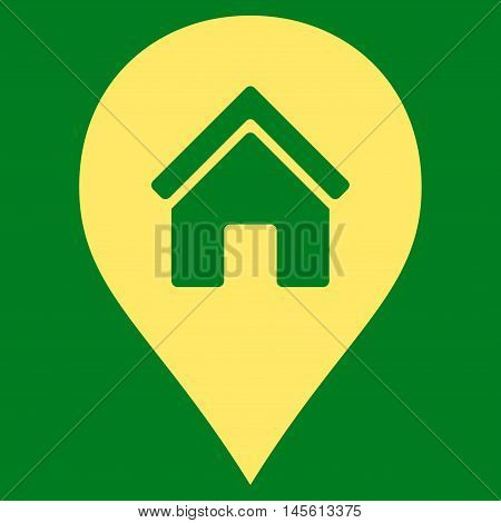 Realty Map Marker icon. Vector style is flat iconic symbol yellow color green background.