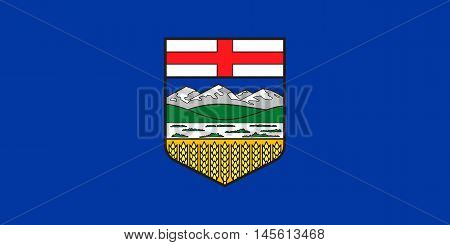 Flag of the Canadian province of Alberta in correct size proportions and colors. Canadian AB patriotic element. Albertan provincial official symbol. Canada banner and background. Vector illustration