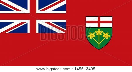 Flag of the Canadian province of Ontario in correct size proportions and colors. Canadian ON patriotic element and provincial official symbol. Canada banner and background. Vector illustration