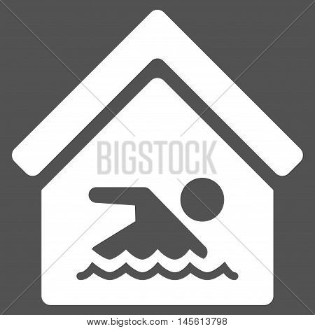 Indoor Water Pool icon. Vector style is flat iconic symbol, white color, gray background.