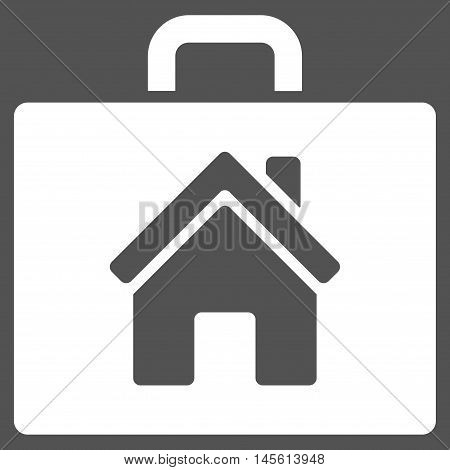 Realty Case icon. Vector style is flat iconic symbol white color gray background.