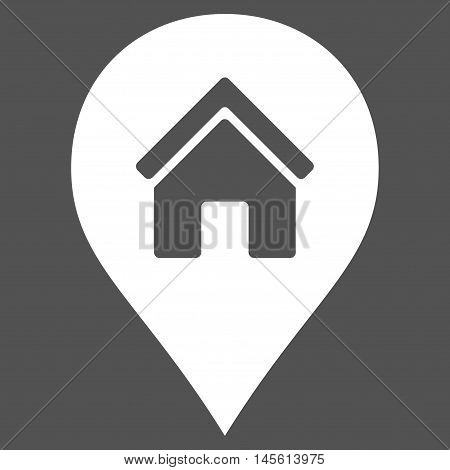 Realty Map Marker icon. Vector style is flat iconic symbol white color gray background.