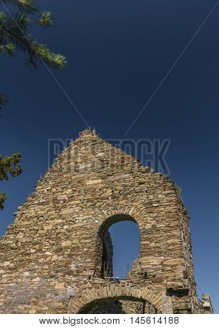 Ruin of coal ironworks in Kovarska village in summer day