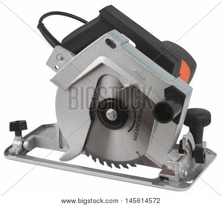 Electric circular saw. Circular saw is designed for cutting wood and plastic. Object is isolated on white background without shadows.