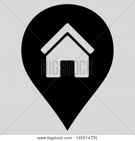Realty Map Marker icon. Vector style is flat iconic symbol, black color, light gray background.