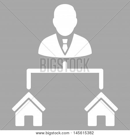 Realty Manager icon. Vector style is flat iconic symbol, white color, silver background.