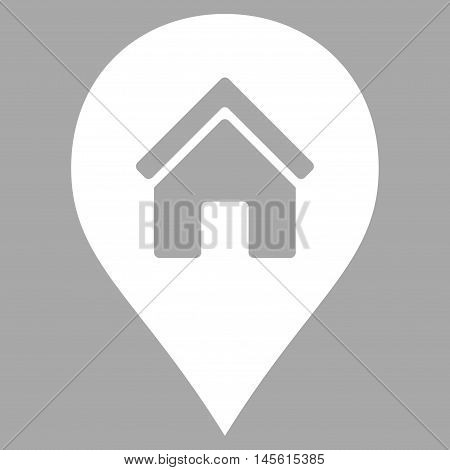 Realty Map Marker icon. Vector style is flat iconic symbol, white color, silver background.