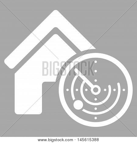 Realty Radar icon. Vector style is flat iconic symbol, white color, silver background.