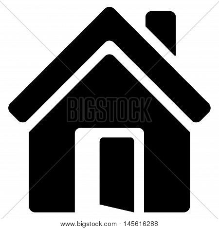 Open House Door icon. Vector style is flat iconic symbol, black color, white background.