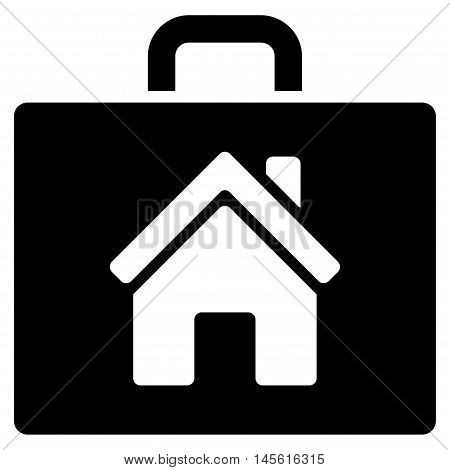 Realty Case icon. Vector style is flat iconic symbol, black color, white background.
