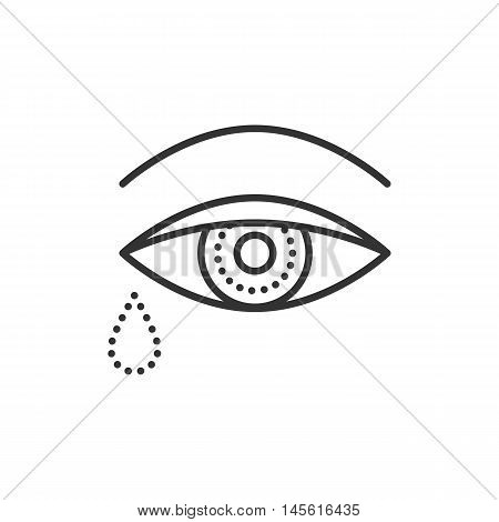 Crying Eye With Tears. Flat Icon. Vector Outline Illustration Isolated