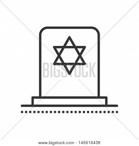 Tombstone With Star Of David. Vector Flat Icon.