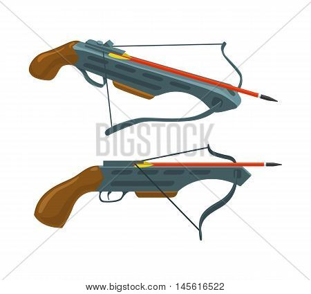 Crossbow with arrow. Weapon and archery. Vector flat icon. Illustration isolated on white background. Thin line style.