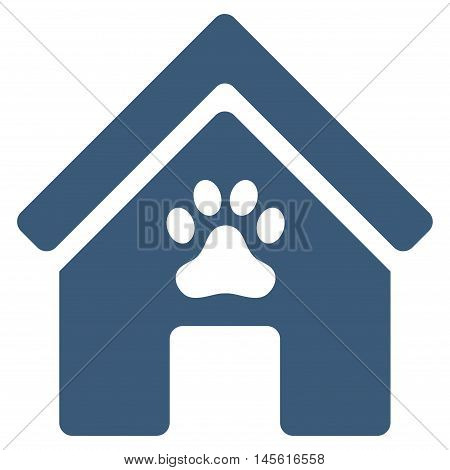 Doghouse icon. Vector style is flat iconic symbol blue color white background.