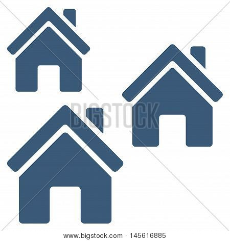 Village Buildings icon. Vector style is flat iconic symbol, blue color, white background.