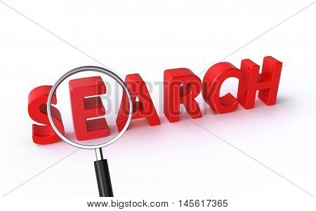 3d rendering of a magnifying glass and search text on the white background