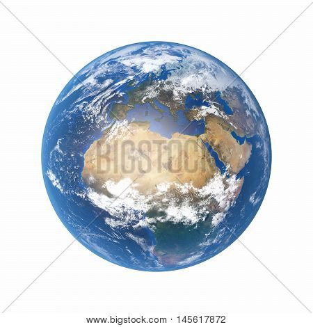 3D Illustration - Planet earth isolated on white background.