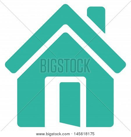 Open House Door icon. Vector style is flat iconic symbol, cyan color, white background.