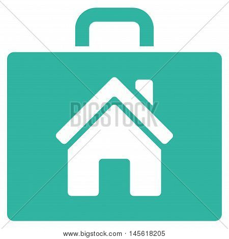 Realty Case icon. Vector style is flat iconic symbol, cyan color, white background.