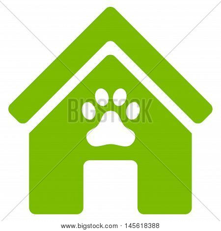 Doghouse icon. Vector style is flat iconic symbol, eco green color, white background.