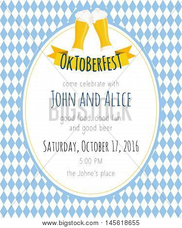Vector detailed flat illustration of oktoberfest party invitation with two beer mugs on rhombic oktoberfest background.