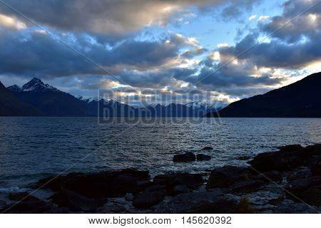 Lake Wakatipu from Kelvin Heights in winter.