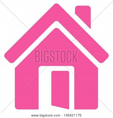 Open House Door icon. Vector style is flat iconic symbol, pink color, white background.