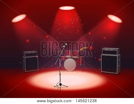 Bright empty scene with microphone, drum set and amplifiers in the light of spotlights on red background