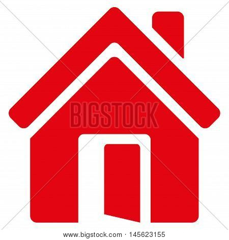 Open House Door icon. Vector style is flat iconic symbol, red color, white background.