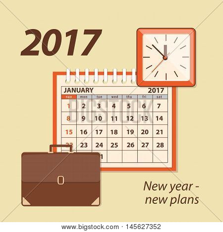 Flat modern design concept of business strategy planning. Page of calendar january 2017 briefcase and wall clock. EPS 10.