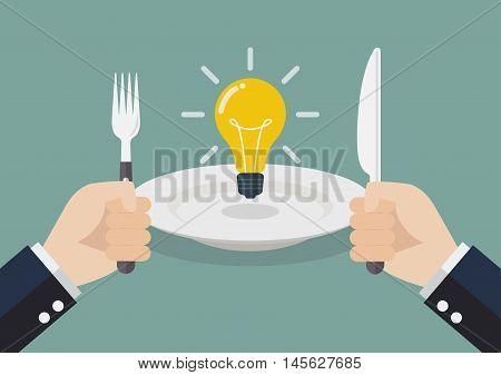 Businessman eating an idea. Business metaphor concept