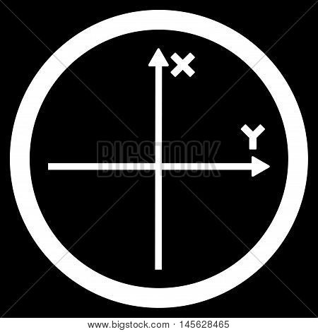 Cartesian Axis vector rounded icon. Image style is a flat icon symbol inside a circle, white color, black background.