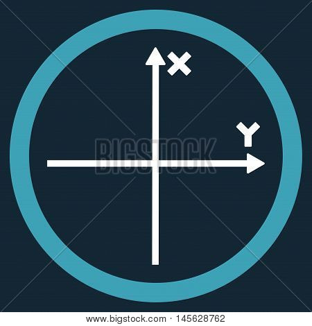 Cartesian Axis vector bicolor rounded icon. Image style is a flat icon symbol inside a circle blue and white colors dark blue background.