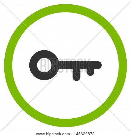 Key vector bicolor rounded icon. Image style is a flat icon symbol inside a circle, eco green and gray colors, white background.