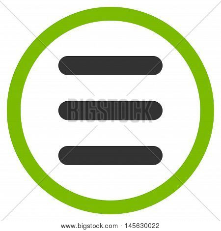 Menu vector bicolor rounded icon. Image style is a flat icon symbol inside a circle, eco green and gray colors, white background.