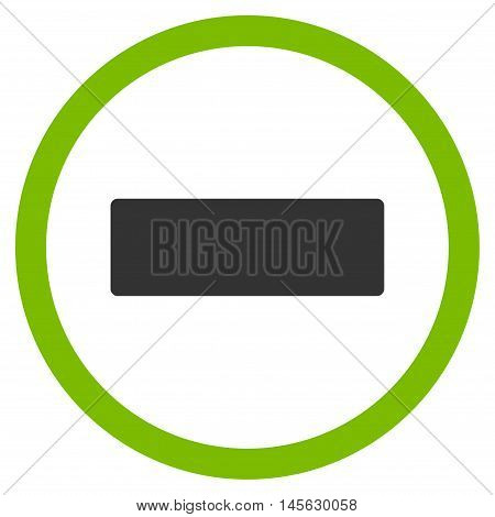 Minus vector bicolor rounded icon. Image style is a flat icon symbol inside a circle, eco green and gray colors, white background.