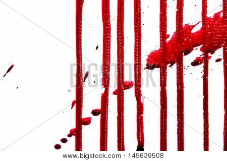 set 8. blood drop and bloodstains on isolated white background for horror content.