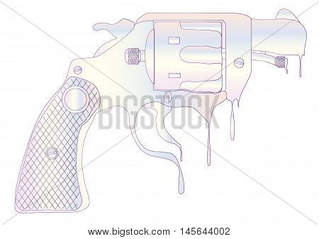 A snub nose revolver made from melting ice