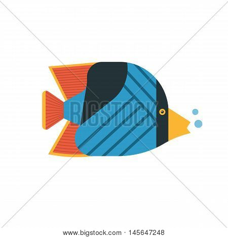 Tropical marine fish vector icon. Striped colorful butterflyfish illustration. Coral fish illustration.