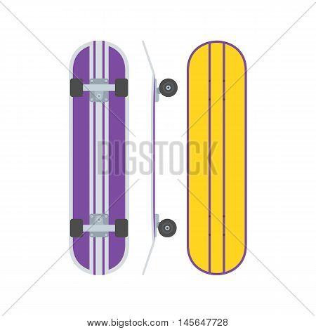 Modern skate board from different sides. Trendy skateboard set. Skateboarding lifestyle. Skate desk vector icon in flat design. City sports and urban activities equipment.