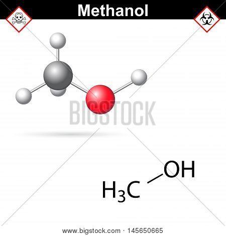 Methanol molecule - structural chemical formula and model 2d and 3d vector illustration isolated on white background eps 8