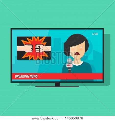 Breaking news on tv screen vector illustration, news television program with unhappy woman reporter