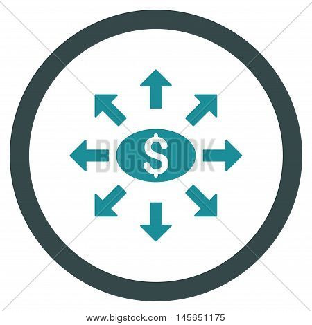 Mass Cashout vector bicolor rounded icon. Image style is a flat icon symbol inside a circle, soft blue colors, white background.