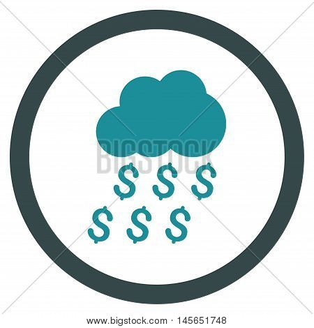 Money Rain vector bicolor rounded icon. Image style is a flat icon symbol inside a circle, soft blue colors, white background.