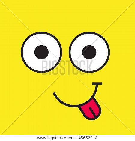 Smile face vector icon on yellow background, flat simple happy smile emotion with eyes and tongue, cheerful joy cartoon graphic