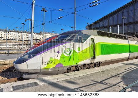 Paris, France - July 07, 2016 : Gare De Nord. Modern Speed Passenger Train On North Railways Station