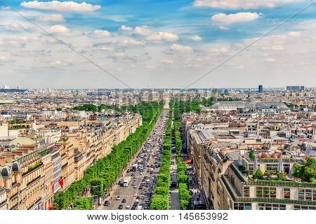 Paris, France - July 06, 2016 :beautiful Panoramic View Of Paris From The Roof Of The Triumphal Arch